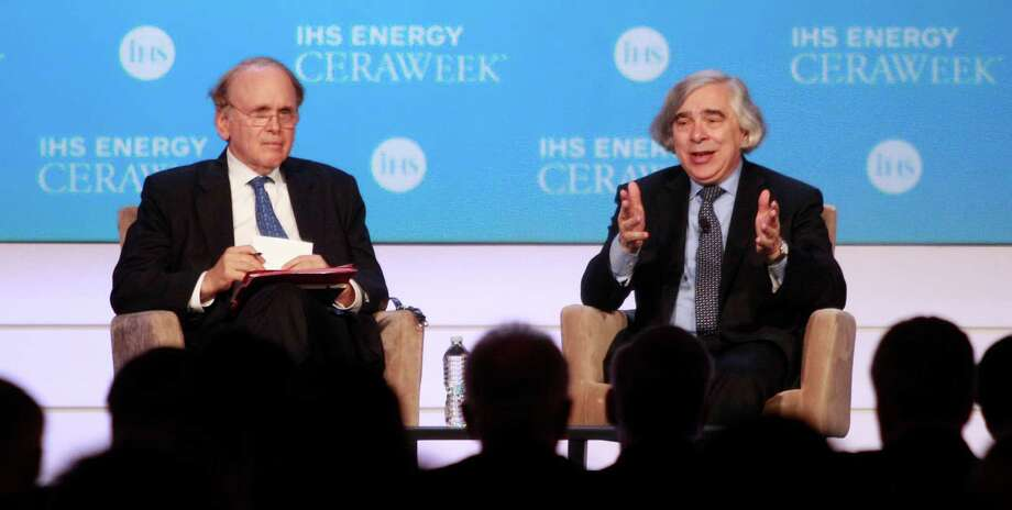 IHS CERAWeek Chairman Daniel Yergin, leads a discussion with U.S. Energy Secretary Ernest Moniz during the Houston conference in 2014. Both will return for the 2015 gathering this week at the Hilton Americas - Houston. ( Melissa Phillip / Houston Chronicle ) Photo: Melissa Phillip, Staff / © 2014  Houston Chronicle