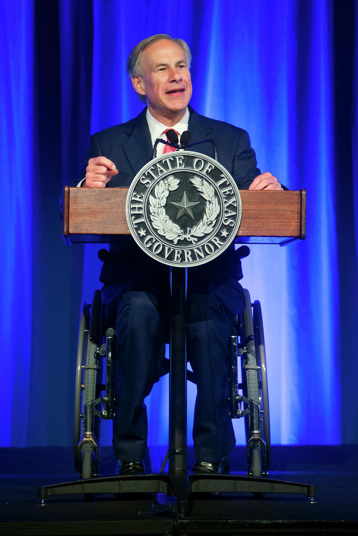 Governor Greg Abbott addresses the Houston Hispanic Chamber of Commerce at the Hilton Americas, Thursday, April 9, 2015, in Houston. (Cody Duty / Houston Chronicle)