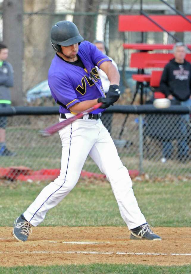 Voorheesville's Kristian Singh swings for the ball during a baseball game against Albany Academy at Albany Academy on Monday, April 13, 2015 in Albany, N.Y. (Lori Van Buren / Times Union) Photo: Lori Van Buren / 00031406A