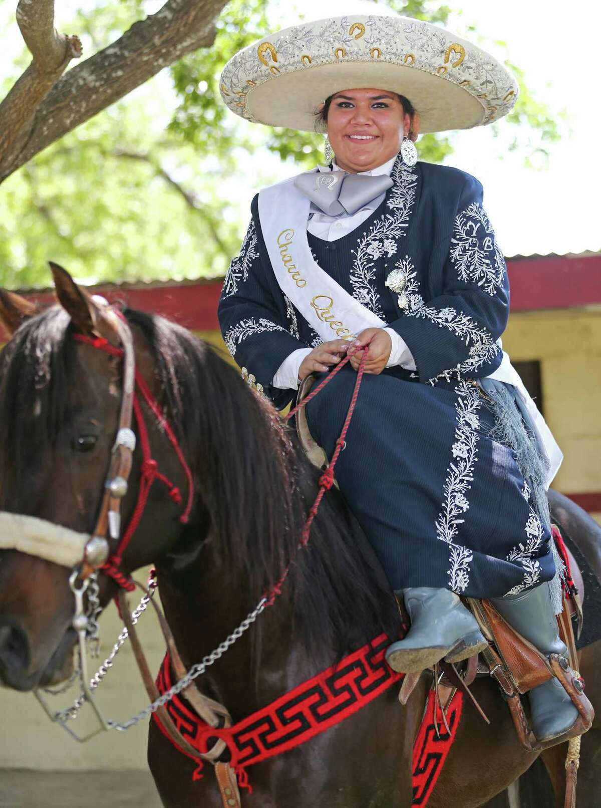 Charro Queen Yazmin Bernal, 17, addressed the crowd from horseback during the event, put on by the San Antonio Charro Association to showcase Mexico's cowboy and cowgirl traditions and their connection to the city.