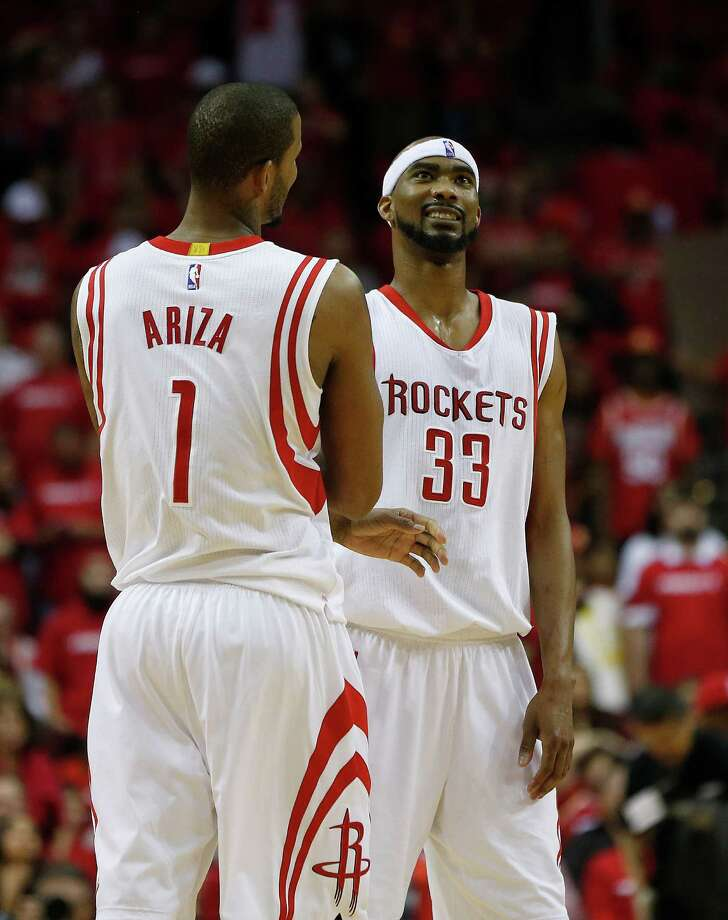Forward Trevor Ariza (1) and guard Corey Brewer proved to be a formidable combination for the Rockets on Saturday night, accounting for five of the team's 10 3-point baskets in the Game 1 victory over Dallas. Photo: Karen Warren, Staff / © 2015 Houston Chronicle