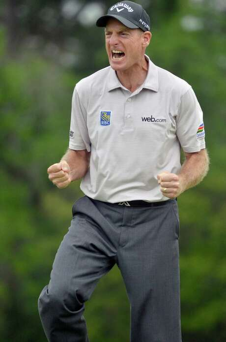 Jim Furyk couldn't contain himself after sinking the putt that gave him his first win since 2010. Photo: Delayna Earley, MBR / The Island Packet