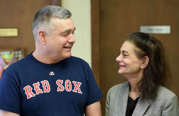 Dan Pirrone and Sherri Sinkel have a chat at Senior Hope Thursday morning April 16, 2015 in Albany, N.Y. (Skip Dickstein/Times Union) Photo: SKIP DICKSTEIN / 00031473A