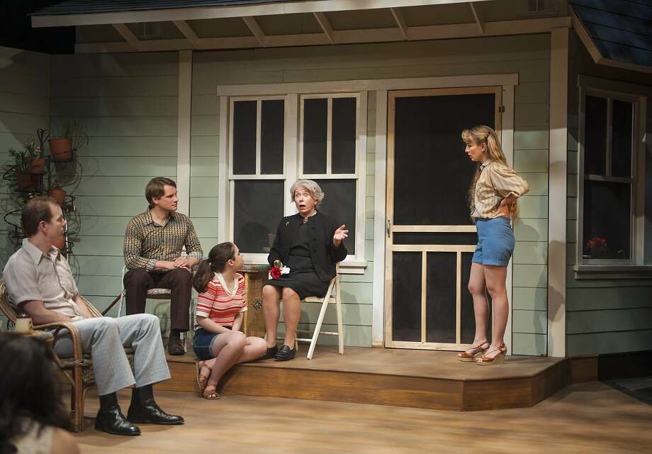 Sally (Elizabeth Benedict, center) informs the family — Gwen (Nanci Zoppi, left), John (John Girot), Ken (Craig Marker), Shirley (Oceana Ortiz) and June (Jennifer Le Blanc) — why she won't see a doctor. Photo: David Allen