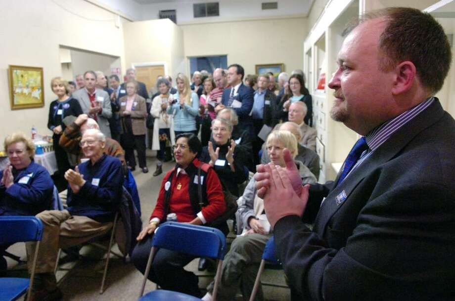 Dave Roberson, the Democratic Town Committee chairman, at the opening of the Greenwich Democratic Headquarters on Railroad Avenue in 2008.  Roberson died in a car accident after leaving the RTM meeting Monday night. Photo: File Photo / Greenwich Time File Photo