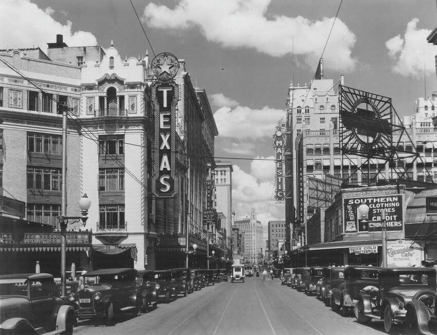 Certifiably historic The Majestic was listed on National Register of Historic Places in 1975 and designated a National Historic landmark in 1993. Photo: A view down Houston Street in 1930. The Texas Theater and the Gunter Hotel can be seen on the left and the Majestic Theatre is on the right.