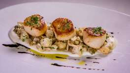 Caramelized diver scallops with cauliflower, toasted barley and wild mushrooms.