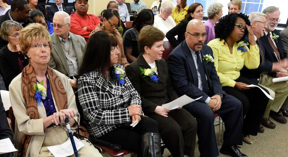 Seven outstanding volunteers wait for their recognition for helping veterans, senior and the community during the Albany County Executive's Volunteer of the Year awards ceremony held Monday morning April 20, 2015 at the Albany County Office Building in Albany, N.Y.    (Skip Dickstein/Times Union) Photo: SKIP DICKSTEIN / 00031529A
