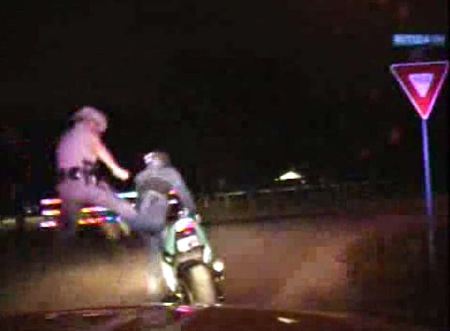 A high-speed chase ends with a two-footed flying karate kick. Photo: Texas Department Of Public Safety