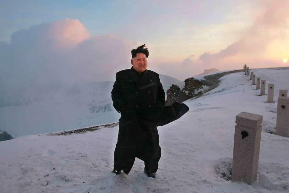 This picture taken by North Korean newspaper Rodong Sinmun on April 18, 2015 and released by South Korean news agency Yonhap on April 19, 2015 shows North Korean leader Kim Jong-Un on a snow-covered top of Mount Paektu in North Korea. North Korean leader Kim Jong-Un has scaled the country's highest mountain, state-run media claimed on April 19, arriving at the summit to tell soldiers that the hike provides mental energy more powerful than nuclear weapons.     REPUBLIC OF KOREA OUT -- NO ARCHIVES -- NO INTERNET -- RESTRICTED TO SUBSCRIPTION USE  --  AFP PHOTO / Rodong Sinmun via YONHAP  -- NO MARKETING - NO ADVERTISING CAMPAIGNS - DISTRIBUTED AS A SERVICE TO CLIENTS -- THIS PICTURE WAS MADE AVAILABLE BY A THIRD PARTY. AFP CAN NOT INDEPENDENTLY VERIFY THE AUTHENTICITY, LOCATION, DATE AND CONTENT OF THIS IMAGE. THIS PHOTO IS DISTRIBUTED EXACTLY AS RECEIVED BY AFP.YONHAP/AFP/Getty Images Photo: Yonhap, AFP / Getty Images