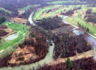 Arial view of the Normans Kill between Capital Hills Golf Course, left, and Normans Side Country Club, right where a mudslide originating from Normans Side blacked the Normans Kill. (State Police)
