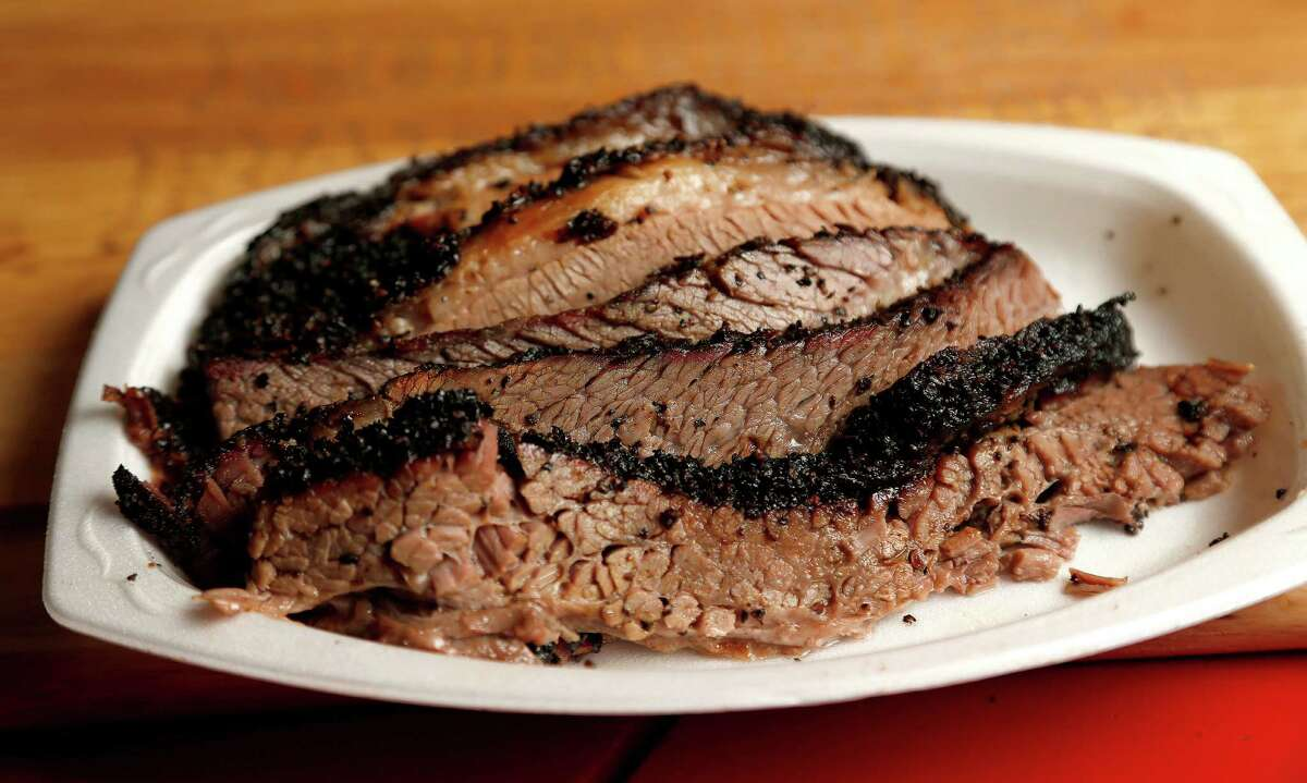 Slices of brisket at Roegels Barbecue Co. on Voss.