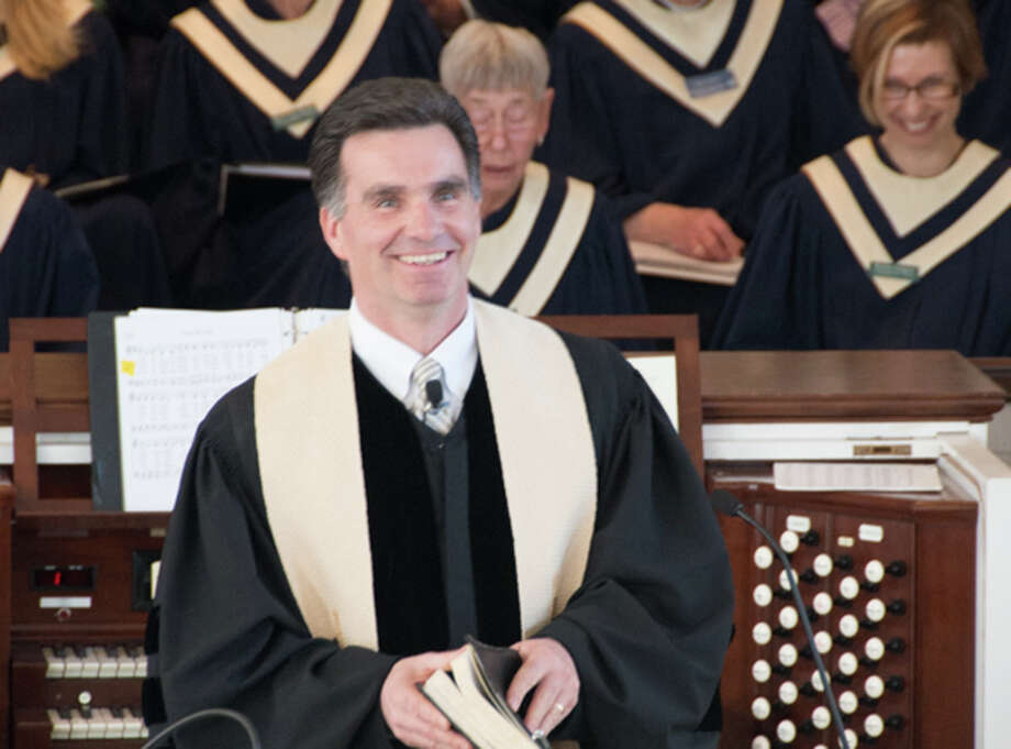 The Rev.Stephen Chapin Garner preaches his call sermon, âÄúLeader of LeadersâÄù at The Congregational Church of New Canaan on  April 19. Photo: Polly Morrow/Contributed Photo, Contributed Photo / New Canaan News