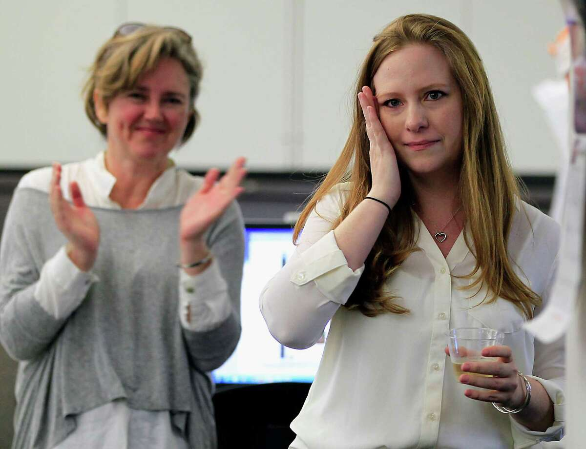 The Houston Chronicle Columnist Lisa Falkenberg speaks in the newsroom after the announcement Falkenberg won the 2015 Pulitzer Prize for Commentary Monday, April 20, 2015, in Houston.
