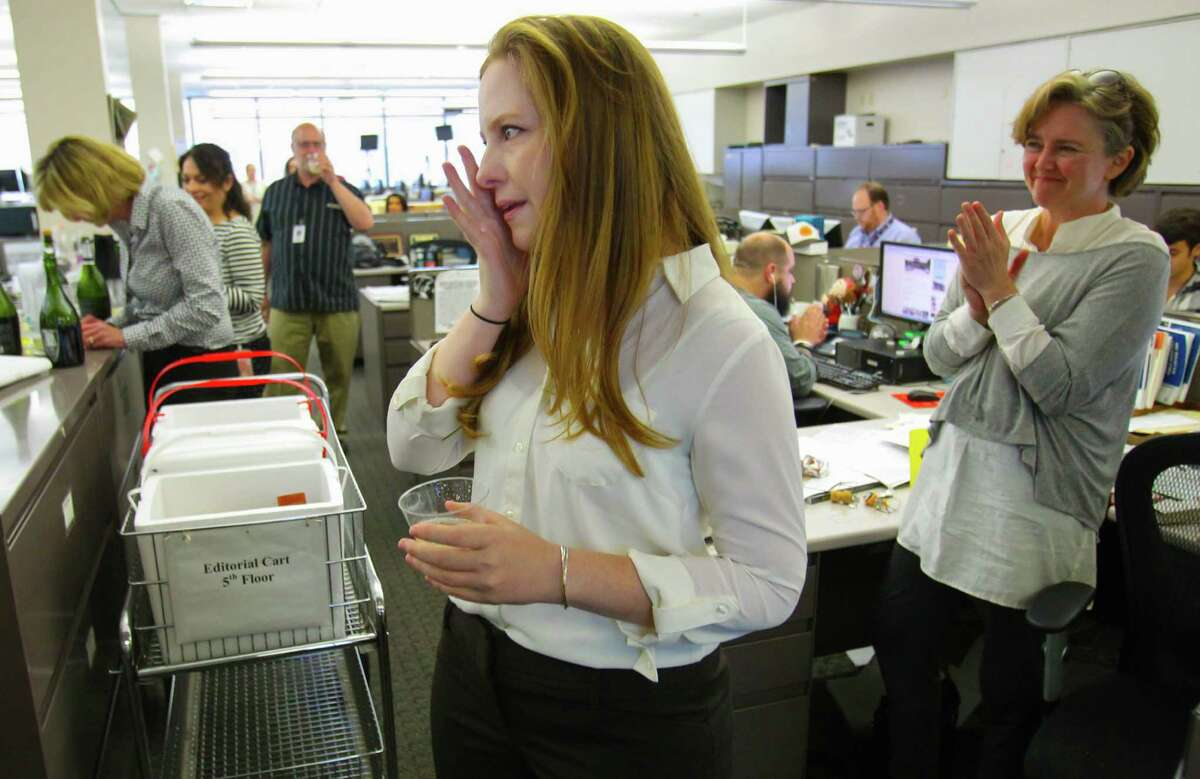 Houston Chronicle Columnist Lisa Falkenberg addresses the Houston Chronicle news room after finding she has won the 2015 Pulitzer Prize for Commentary, the Pulitzer board announced Monday April 20, 2015. This is the first Pulitzer Prize awarded to the Chronicle in its 114-year history.