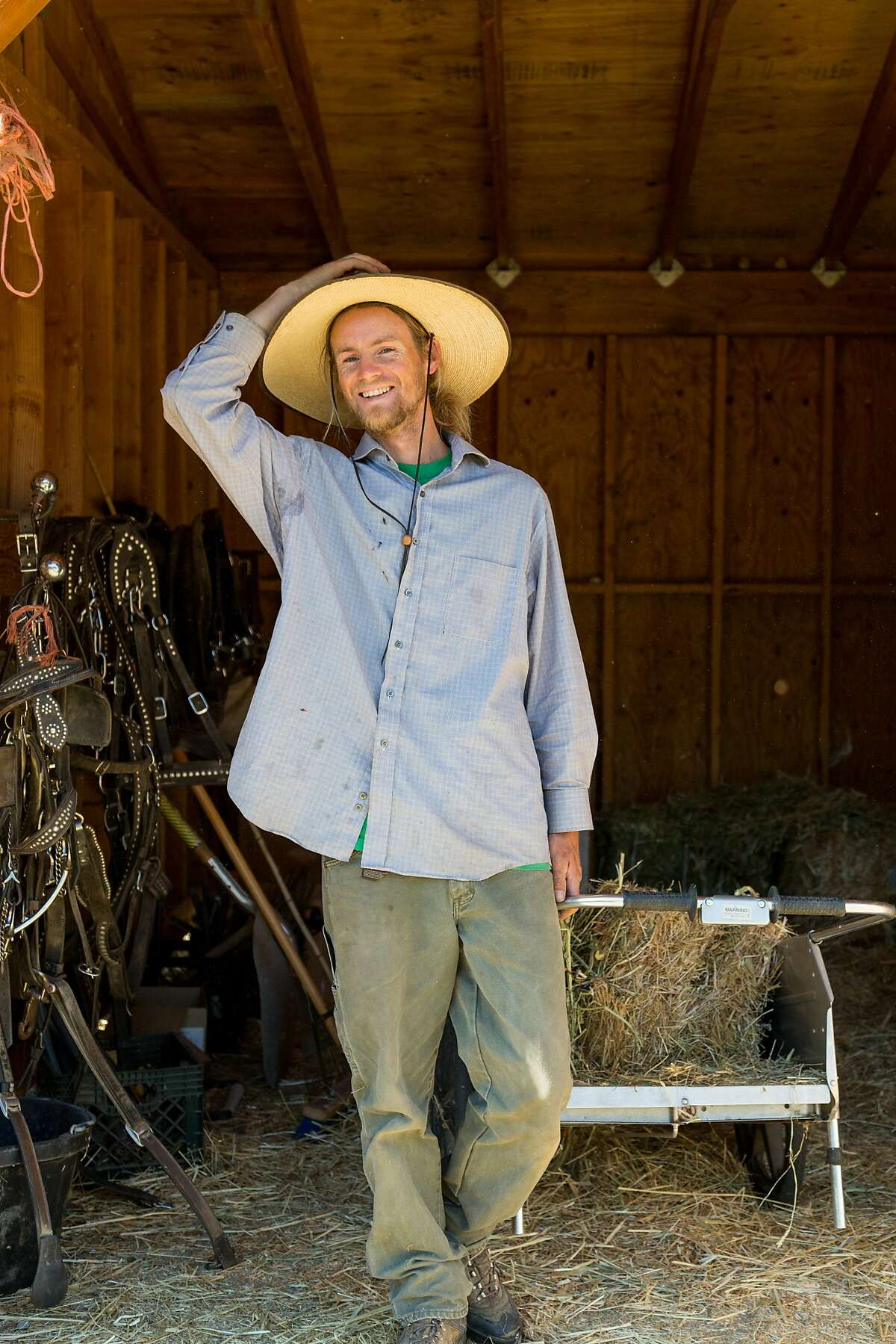 Farmer Balyn Rose at the Work Horse Organic Agriculture farm in Bennett Valley, Calif., Friday, April 17, 2015.