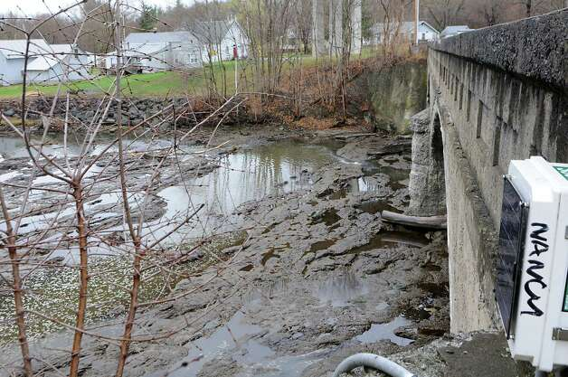 The Norman Kill appears to be drying up on the Delmar side due to a mudslide on Monday, April 20, 2015 in Delmar, N.Y. (Lori Van Buren / Times Union) Photo: Lori Van Buren