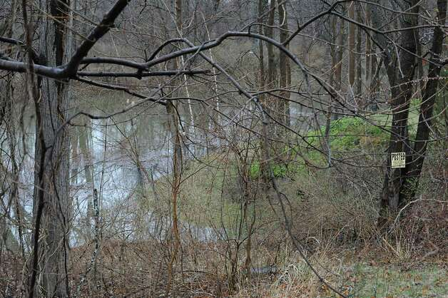 Water creeps onto the back property of a home as the Normans Kill water rises along Normanside Drive due to a mudslide on Monday, April 20, 2015 in Slingerlands, N.Y. (Lori Van Buren / Times Union) Photo: Lori Van Buren