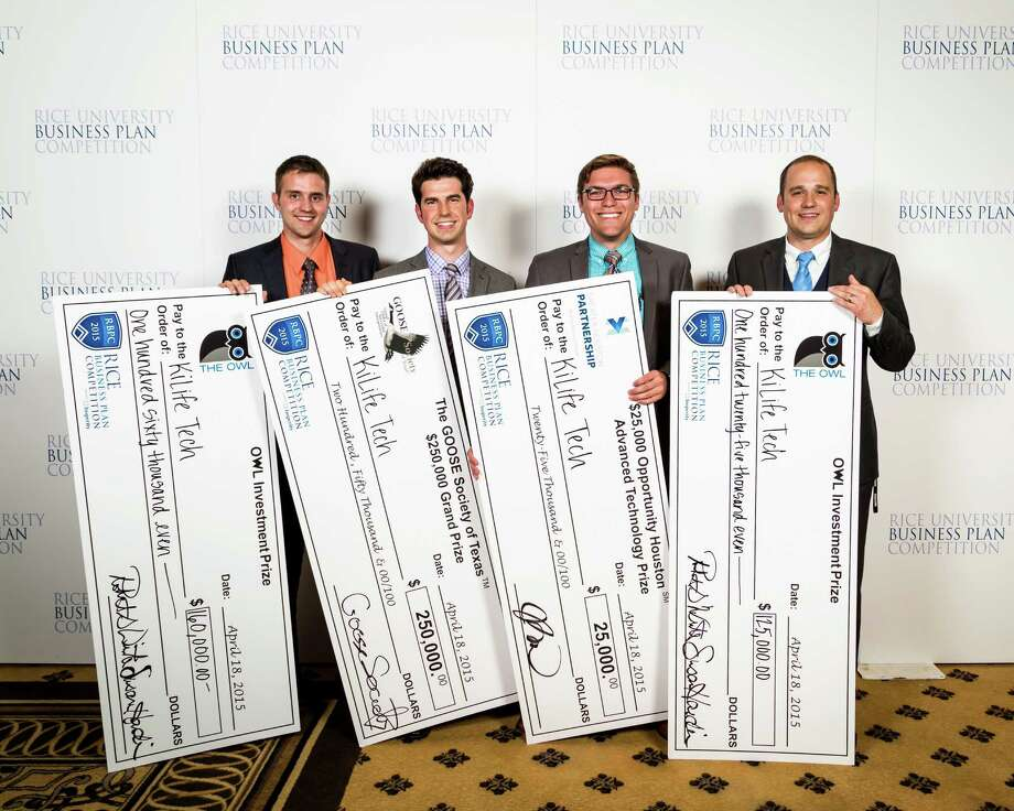 KiLife Tech from Brigham Young University won the 2015 Rice Business Plan Competition. Pictured, left to right, are Jordan Baczuk, chief technical officer, Jeff Hall, chief marketing officer, Zack Oates, vice president of business development, and Spencer Behrend, founder and CEO. Photo courtesy of ShauLin Photography. / Slyworks Photography