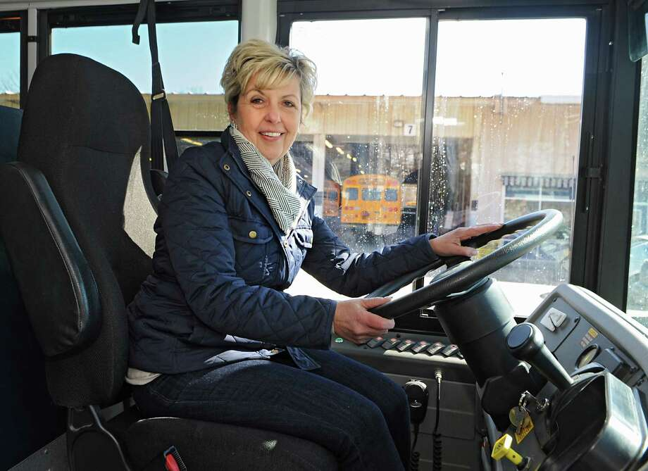 Bus driver Patty Mitchell sits in the driver's seat on the school bus she drives on Monday, March 23, 2015 in Latham, N.Y.  (Lori Van Buren / Times Union) Photo: Lori Van Buren / 00030998A