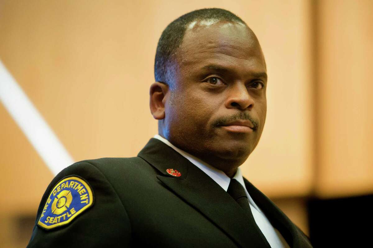 Harold Scoggins, after being elected as the new Chief of the Seattle Fire Department, photographed Monday, April 20, 2015, at City Hall in Seattle, Washington.
