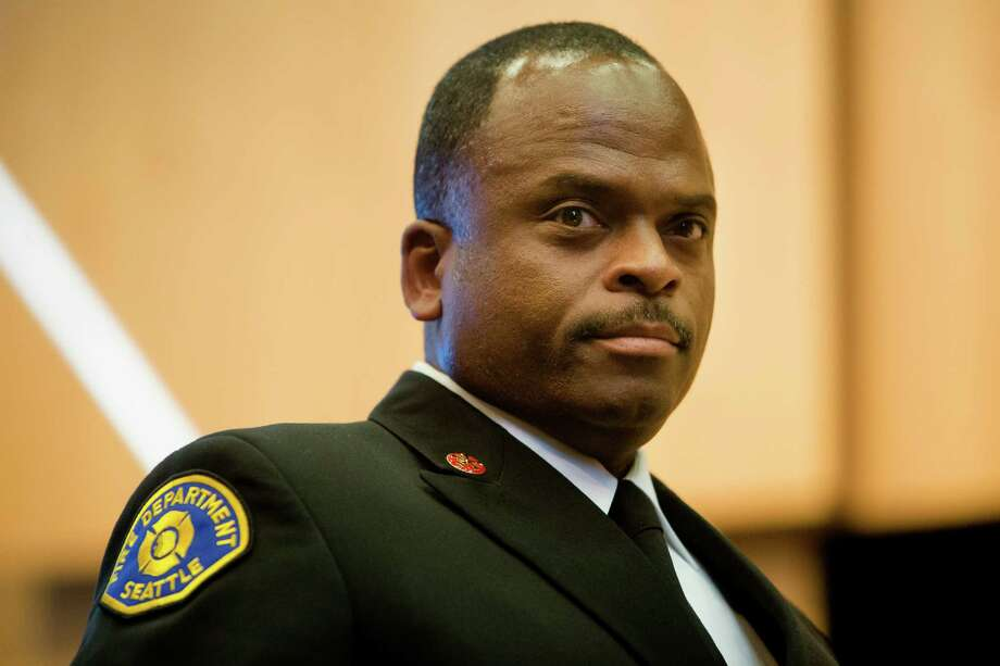 Harold Scoggins, after being elected as the new Chief of the Seattle Fire Department, photographed Monday, April 20, 2015, at City Hall in Seattle, Washington. Photo: JORDAN STEAD, SEATTLEPI.COM / SEATTLEPI.COM