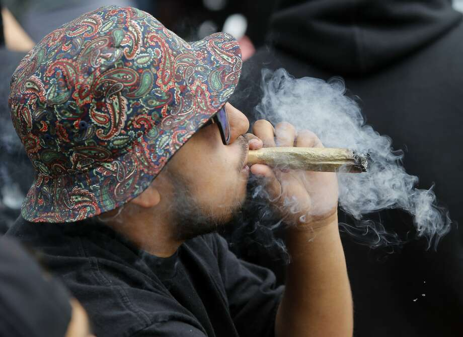 The date called for a big celebration and some of the smoking materials were large too. The annual four twenty celebration of marijuana smoking was attended by thousands near Hippie Hill in Golden Gate Park. Photo: Brant Ward, The Chronicle