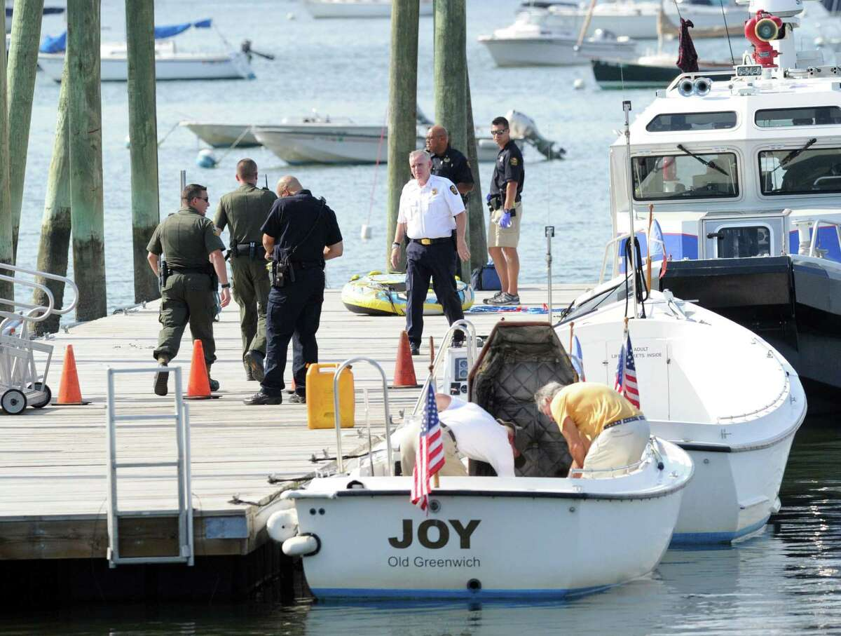 The scene near where a 16-year-old girl was killed in a tubing accident off Greenwich Point Wednesday afternoon, Aug. 6, 2014, and another teenage girl was seriously injured. Both were riding on a rubber tube being pulled by a boat when the accident occurred near the Old Greenwich Yacht Club at approximately 2 p.m. There were two other teenage girls on the boat at the time, including the driver. All are believed to be under 18 and students at Greenwich High School, according to police. Police did not release names of those involved.