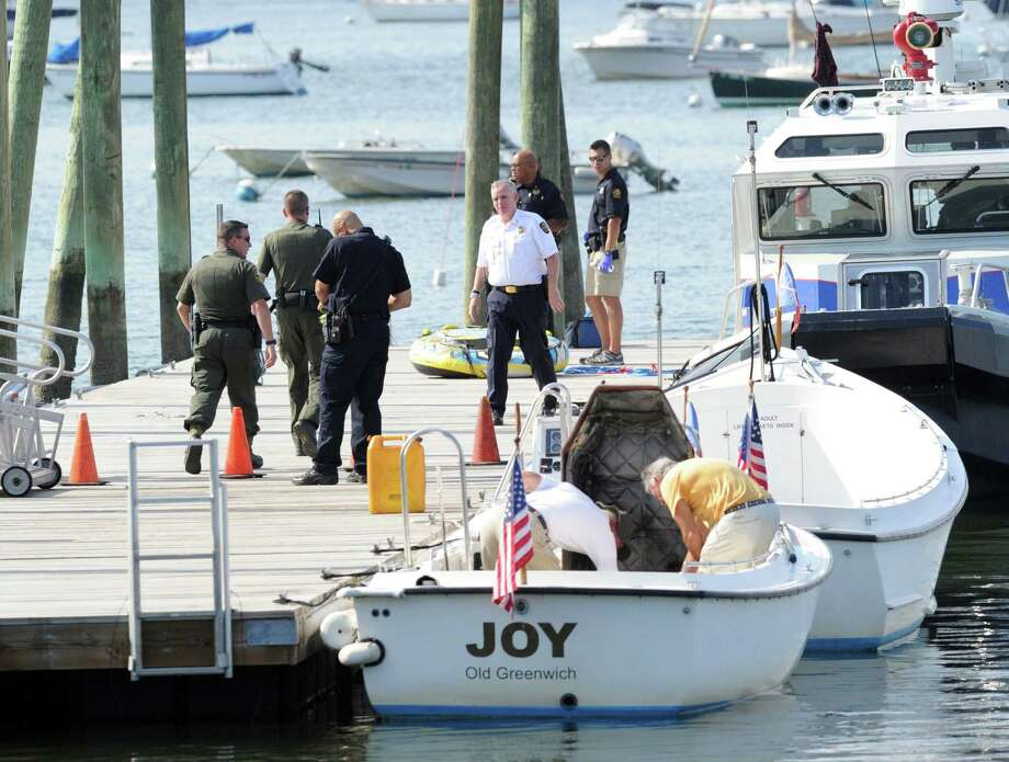 The scene near where a 16-year-old girl was killed in a tubing accident off Greenwich Point Wednesday afternoon, Aug. 6, 2014, and another teenage girl was seriously injured. Both were riding on a rubber tube being pulled by a boat when the accident occurred near the Old Greenwich Yacht Club at approximately 2 p.m. There were two other teenage girls on the boat at the time, including the driver. All are believed to be under 18 and students at Greenwich High School, according to police. Police did not release names of those involved. Photo: Bob Luckey / Greenwich Time