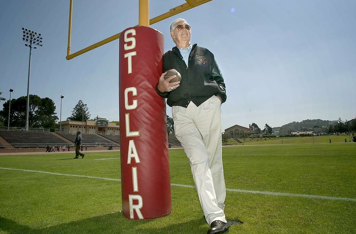 stclair037_ch.jpg.NEF Old 49er Bob St. Clair in the neighborhood of Kezar Stadium, Stanyan and Frederick Streets. The field at Kezar is being dedicated as Bob St. Clair Field on Monday, Aug. 25 when the 49ers practice there, for the first time in 32 years. St. Clair played 189 games on this field, first with Polytechnic High, then with USF, then with 49ers. He is only person in NFL history to play home games on the same field for high school, college and pro. Event on 6/19/03 in San Francisco. CHRIS HARDY / The Chronicle Ran on: 09-21-2005 Ran on: 09-21-2005