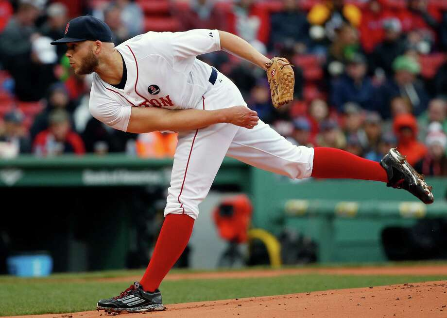Boston Red Sox's Justin Masterson pitches during the first inning of a baseball game against the Baltimore Orioles in Boston, Monday, April 20, 2015. (AP Photo/Michael Dwyer) ORG XMIT: MAMD101 Photo: Michael Dwyer / AP