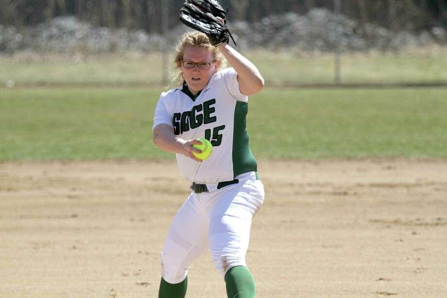 Hoosick Falls High graduate Katie Kovage of the Sage softball team. (Sage College sports information)