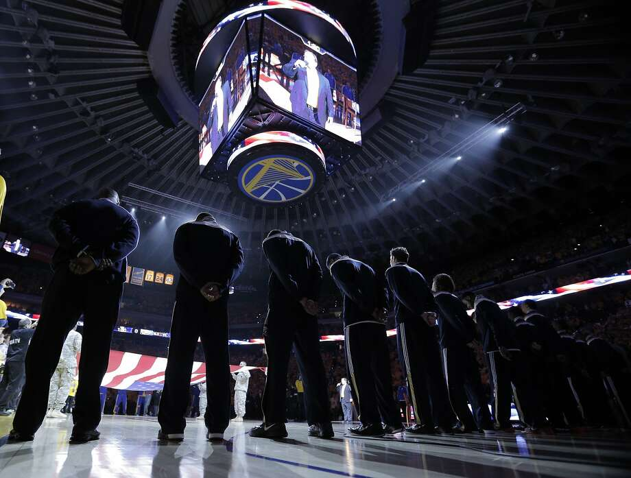 Pregame festivities before Monday's game. The Golden State Warriors played the New Orleans Pelicans in Game 2 of the 1st Round of NBA Western Conference Playoffs at Oracle Arena in Oakland, Calif., on Monday, April 20, 2015. Photo: Carlos Avila Gonzalez, The Chronicle