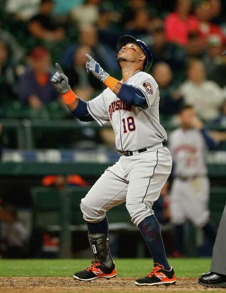 Luis Valbuena gets a lift out of giving the Astros the lead in the eighth-inning with his second home run of Monday night's game. Photo: Otto Greule Jr, Stringer / 2015 Getty Images