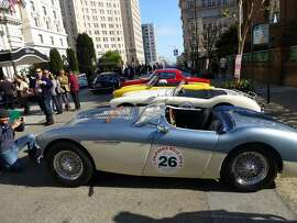 Austin-Healeys and other cars parked near San Francisco's Fairmont Hotel in April 2014, a day before the start of that year's California Mille. (Photo by Michael Taylor)