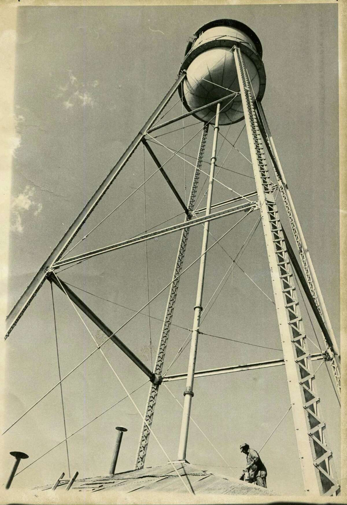 From the 1850s to the late 1910s, the city flourished with farms, stores, mills and a dancehall. The first mercantile store, now the Gruene General Store, was built in 1878. The cotton gin was built soon after. Shown here is the Gruene water tower photographed on March 21, 1975.