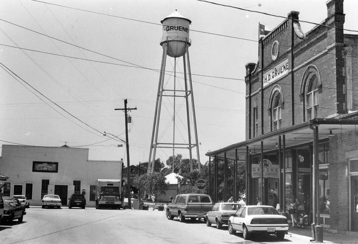 Texas was graced with the quaint town of Gruene in the mid-1800s. After flourishing in the early 1990s, falling during the Great Depression and recovering in the 1970s, the city has become a top destination in the Hill Country. Shown here is downtown Gruene photographed on May 9, 1989.