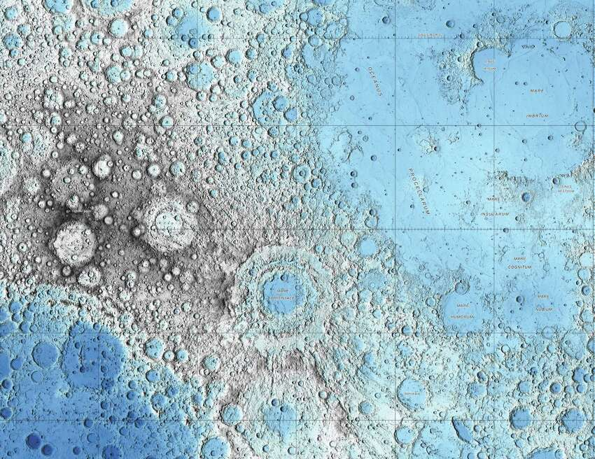 This image is part of a new series of high resolution images of the moon provided by the U.S. Geological Survey. This map is based on data from the Lunar Orbiter Laser Altimeter.