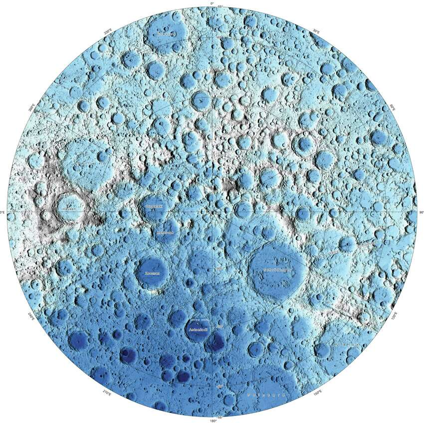 This image is part of a new series of high resolution images of the moon provided by the U.S. Geological Survey. This map of the moon's south polar region is based on data from the Lunar Orbiter Laser Altimeter.