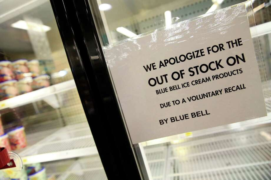 OVERLAND PARK, KS - APRIL 21:  Shelves are bare and signs are posted where Blue Bell products were displayed in a grocery store on April 21, 2015 in Overland Park, Kansas.  Blue Bell Creameries recalled all products following a Listeria contamination. Photo: Jamie Squire, Getty Images / 2015 Getty Images