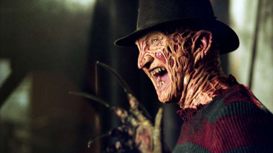"Freddy Krueger, from the popular 1984 horror flick, ""A Nightmare on Elm Street,"" enters the minds of his victims while they are dreaming, slashing them to death with his knife-like fingers.Click through the gallery below to see where your favorite scary movies rank. Photo: Film Studios"