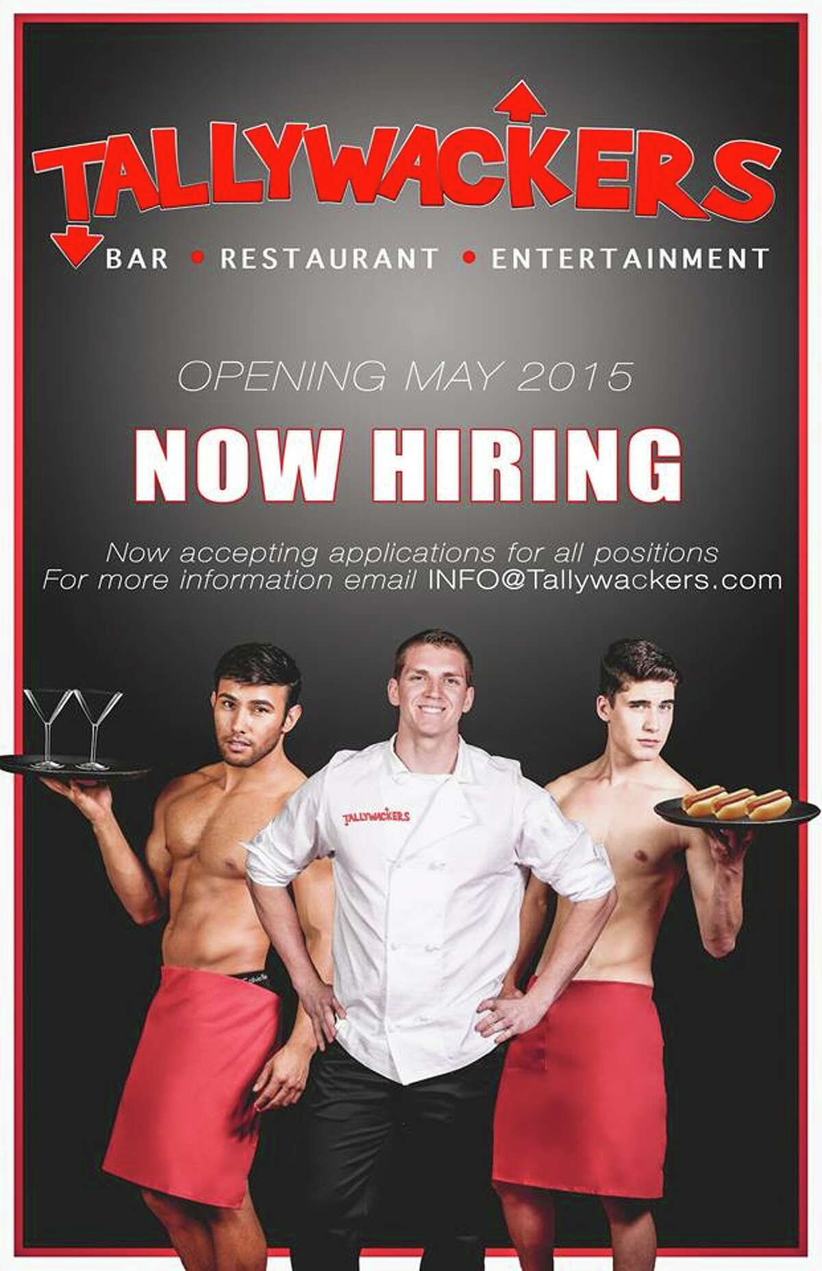 Dallas will soon see the opening of Tallywackers, an eatery featuring scantily-clad men like the ones seen here.