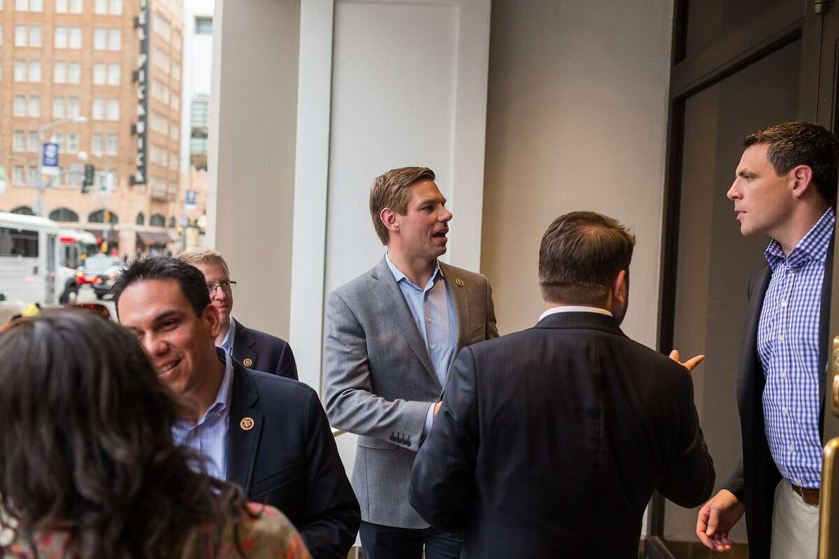 Re. Eric Swalwell spoke with attendees after a panel discussion The Future Forum presented by HIVE at the Impact HUB in San Francisco, Calif., Monday, April 20, 2015. US Representatives Pete Aguilar, Eric Swalwell, Derek Kilmer and Ruben Gallego spoke to young entrepreneurs about their concerns as part of Rep. Swalwell's talking tour in cities across the nation.