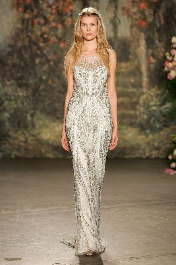 A model walks the runway wearing Jenny Packham Bridal Spring 2016 at Industria Superstudio on April 17, 2015 in New York City. Photo: Thomas Concordia, Getty Images