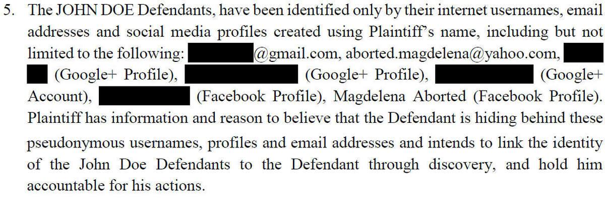 Excerpt from petition: JANE DOE (Plaintiff) vs. HERIBERTO LATIGO and JOHN DOE (Defendants).
