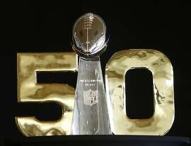 The Vince Lombardi NFL trophy seen at a press conference introducing Superbowl City in San Francisco, California, on Tuesday, April 21, 2015.  Eight days before Superbowl 50 is played in Santa Clara, the easternmost stretch of Market St. near the Ferry Building will be turned into Suberbowl City, which will become the staging area for CBS television courage,  and exhibits and food and erin vendors for fans to browse.