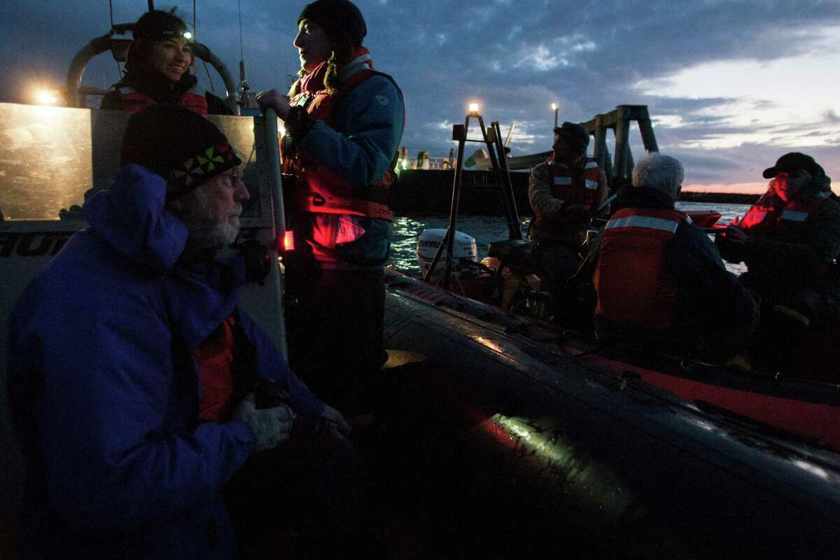 Greenpeace members and the media prepare to meet the Shell oil rig in the Strait of Juan de Fuca as it arrived in Port Angeles on Friday, April 17, 2015. The rig will stay in Port Angeles for two weeks before heading to Seattle.