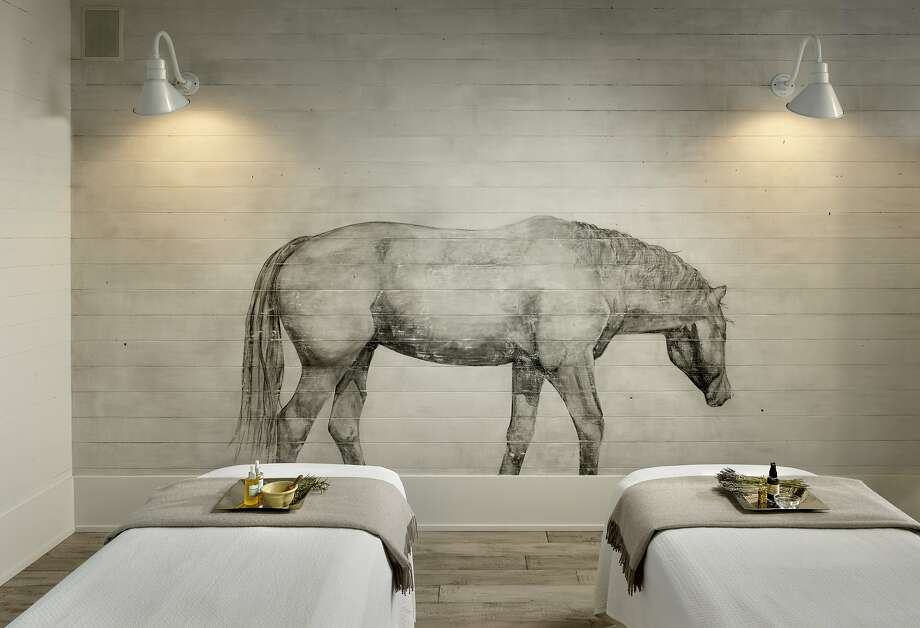 In the spa, artist Tina Wainwright painted horses on the walls, a nod to the inn's equestrian theme. Photo: Courtesy Farmhouse Inn