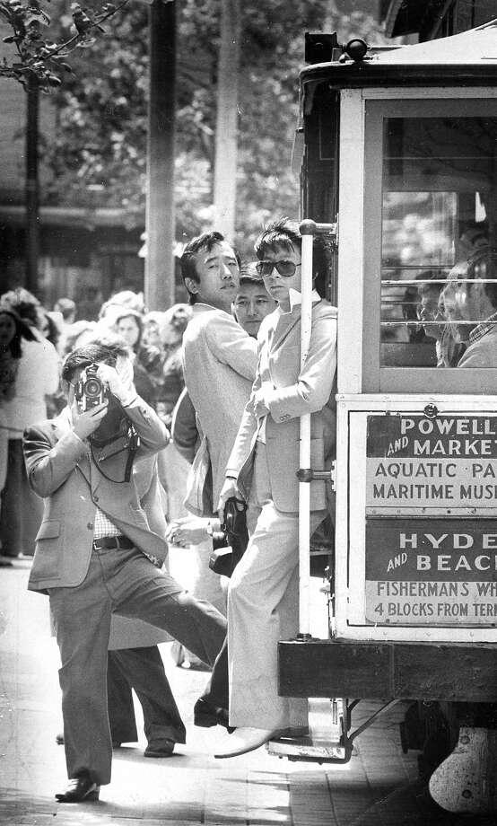 Tourists visit San FranciscoJapanese tourists take pictures at cable carPhoto taken 06/09/1977Photo ran 09/16/1984, pg. 6 Photo: John Storey, The Chronicle