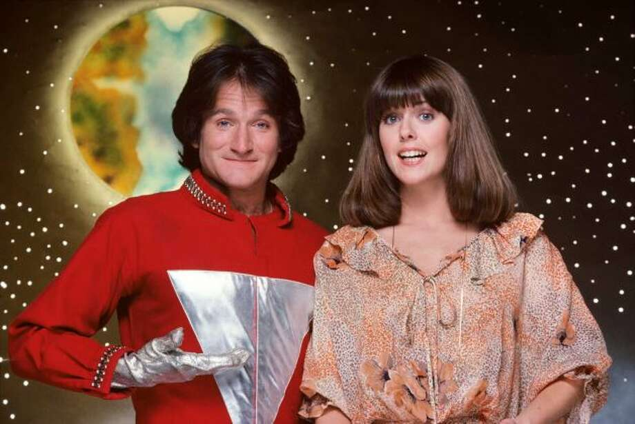 """The character of Mork, an alien from the planet of Ork, became so popular from an episode of """"Happy Days"""" that it was spun-off into a series starring Robin Williams in the lead role. Landing in a giant eggshell, he was befriended by Mindy McConnell (Pam Dawber), who helped him adjust to Earth's strange ways."""